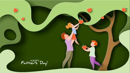 Vader tilt zijn dochter op om appelfruit te plukken. Gelukkig vaders dag kaart. Platte stijl. vector illustratie
