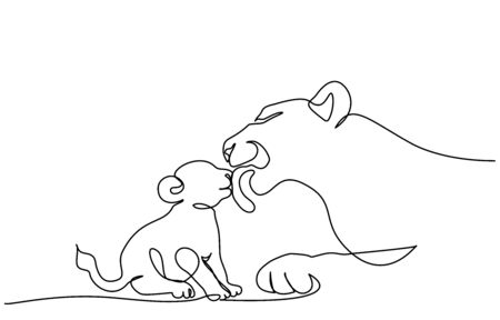 Continuous one line drawing. Young lioness with lion cub. Vector illustration