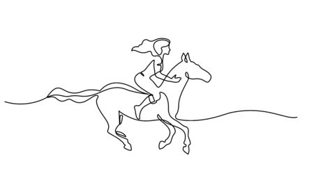 Continuous one line drawing. woman riding a horse. Black and white vector illustration. Concept for logo, card, banner, poster, flyer Logos