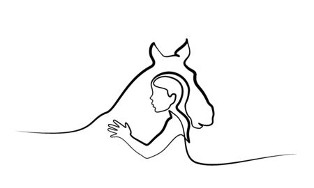 Continuous one line drawing. Horse and woman heads logo. Black and white vector illustration. Concept for logo, card, banner, poster, flyer Illustration