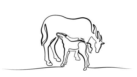 Dessin continu d'une ligne. Le cheval nourrit peu de poulain. Illustration vectorielle noir et blanc. Concept pour logo, carte, bannière, affiche, flyer Logo