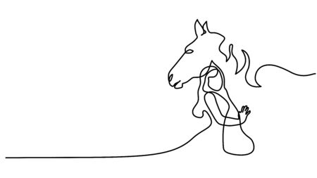 Continuous one line drawing. Horse and woman heads logo. Black and white vector illustration. Concept for logo, card, banner, poster, flyer Stock Illustratie