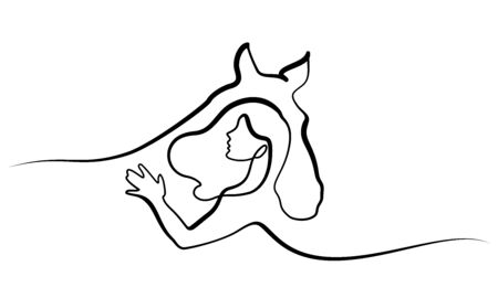 Continuous one line drawing. Horse and woman heads . Black and white vector illustration.