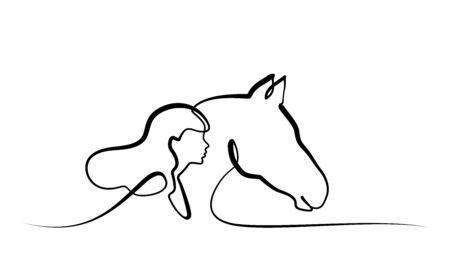 Disegno continuo a una linea. Teste di cavallo e di donna. Illustrazione vettoriale in bianco e nero.