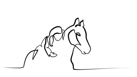 Continuous one line drawing. Girl lying horse. Black and white vector illustration.