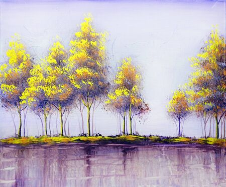 Oil acrylic painting landscape, colorful yellow red trees.