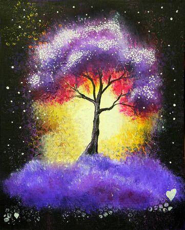 Paysage de peinture acrylique à l'huile, arbre violet coloré la nuit.