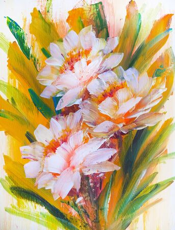 Abstract tender flowers, oil painting on canvas.