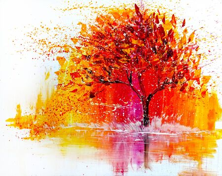 Oil acrylic painting landscape, colorful yellow red tree.