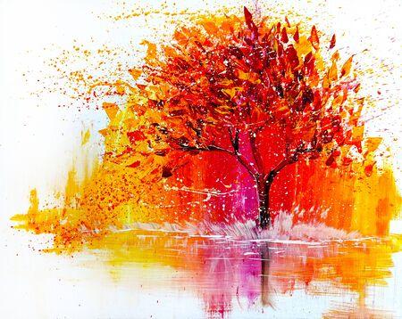 Paysage de peinture acrylique à l'huile, arbre rouge jaune coloré.