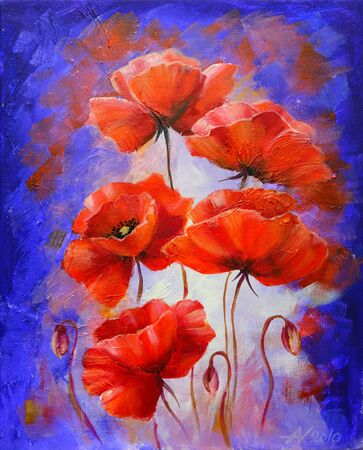 Red Poppies on purple oil painting on canvas.
