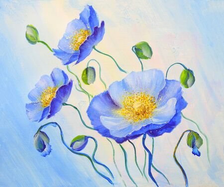 Blue Poppies, oil painting on canvas.