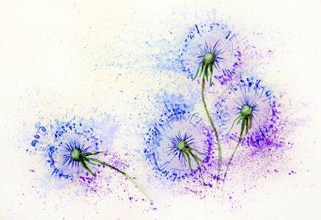 Flores de diente de león en el viento.