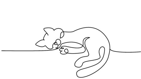 Continuous one line drawing. Cat sitting with curled tail.