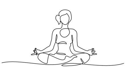 Dibujo continuo de una línea. Mujer sentada meditando con las piernas cruzadas. Ilustración de vector