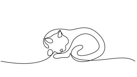 Dessin continu d'une ligne. Chat dormant avec la queue enroulée
