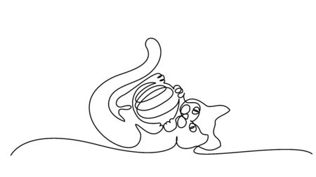 Continuous one line drawing. Cat playing with ball of yarn, laying on back and slightly curled like ball.