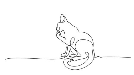 Continuous one line drawing. Cat sitting and cleaning paw.