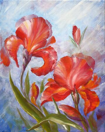 Beautiful flowers red irises. Oil painting on canvas