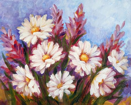 Wild meadow flowers with daisies bouquet. Handmade oil art painting.