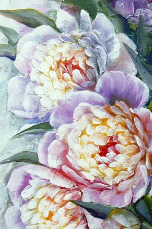 Beautiful flowers Peonies, Hand-drawn oil painting on canvas