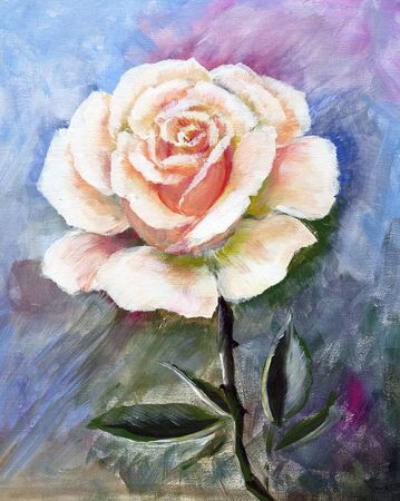 White rose, oil painting on canvas. Good for invitations, cards