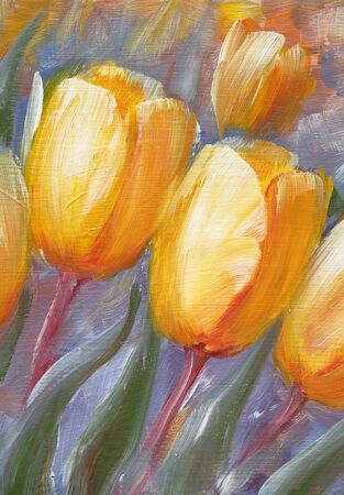 Yellow tulips in garden. Oil painting on canvas