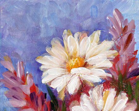 Wild meadow flower daisy. Handmade oil art painting.