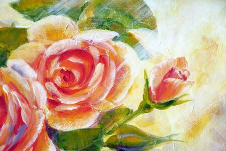 Bush of sunny roses, oil painting on canvas. Modern art