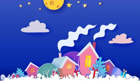 Funny winter village at the night. Christmas card. Paper cut art