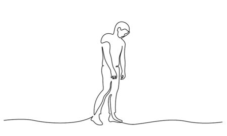 Standing sad man in despair. Illustration