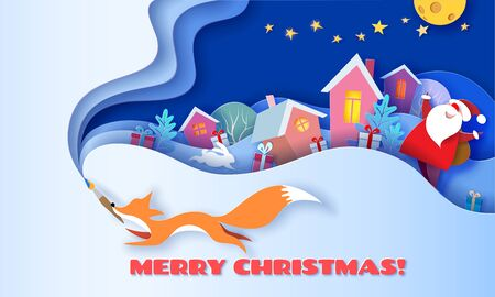 Horizontal banner Merry Christmas. Fox running with brush on blue background and multi layered shapes with trees and village. 3D paper cut art style. Vector illustration.