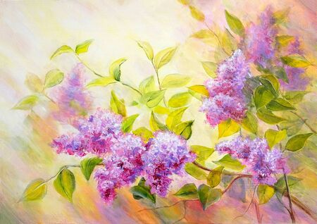 Thickets of lilac bush at sunrise. Sunset. Oil painting on canvas