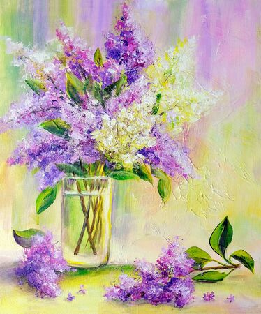 Lilac bouquet in glass vase. Oil painting on canvas