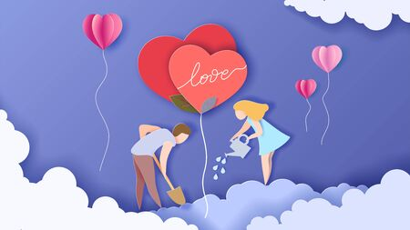 Valentines day card with couple take care of love heart plant with air balloons. Vector paper art illustration. Paper cut and craft style.
