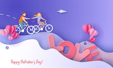 Valentines day card with couple on bicycles with air balloons. Vector paper art illustration. Paper cut and craft style.