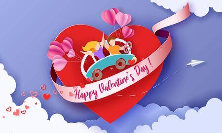 Tarjeta del día de San Valentín con pareja volando en corazón viajando en coche con globos aerostáticos. Ilustración de arte de papel de vector. Corte de papel y estilo artesanal.