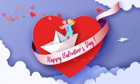 Valentines day card with couple flying on heart on paper boat. Vector paper art illustration. Paper cut and craft style. Ilustrace