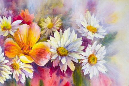 Bright bouquet of spring flowers. Wildflowers, oil acril painting on canvas