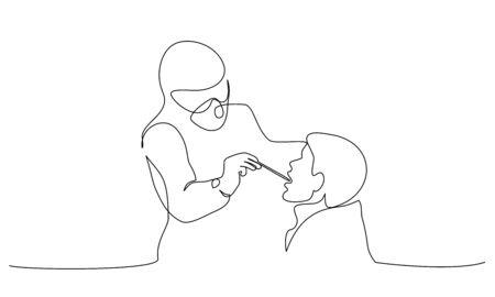 Le personnel médical passe un test de coronavirus à l'aide d'un bâtonnet d'écouvillonnage buccal. Homme avec la bouche ouverte. Test médical pour COVID-19. Dessin continu d'une ligne. Illustration vectorielle symbole COVID-19 Vecteurs