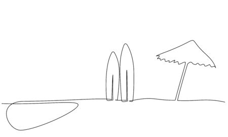 One continuous line drawing. Long surfboard standing up in sand of beach. Vector illustration