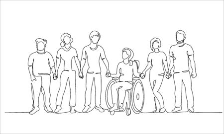 Group of people hold hands. Friends together with disabled. One continuous line drawing vector illustration.