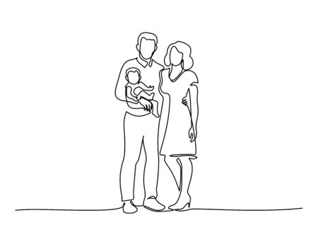 One continuous line drawing of young happy mom and dad holding their baby together full of warmth. Happy family concept. Vector illustration