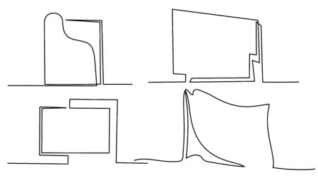 Continuous one line drawing. Set of frames and cards. Black and white vector minimalistic linear illustration