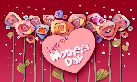 Happy Mothers day flower background. Colorful Paper cut Floral Greeting card. Vector illustration 版權商用圖片 - 145734790