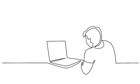 Continuous one line drawing. Man looking for ideas in notebook. Man work at computer. Vector illustration