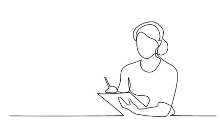 Continuous one line drawing. Woman using mobile digital tablet computer work and writing. Vector illustration