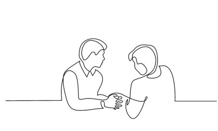Continuous one line drawing. Two male friends discussing a difficult life situation. Vector illustration Vettoriali