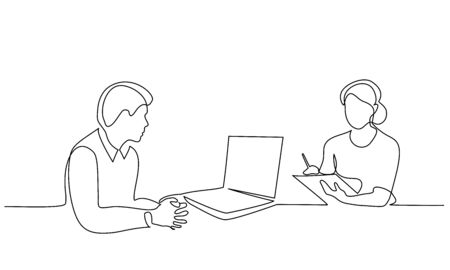 Continuous one line drawing. Boss behind the laptop instructs the secretary to work. Vector illustration