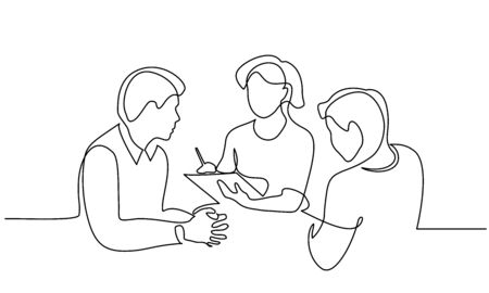 Continuous one line drawing. Employees discuss about work ideas. Vector illustration